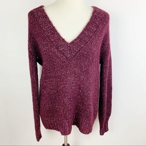 Vince Sweaters - VINCE. Plum and Silver Knit V-neck Sweater Comfy